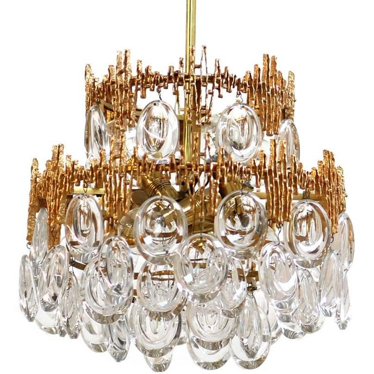 Impressive Gilt Brass & Crystal Glass Fixture by Palwa 1960s Pendant Chandelier For Sale