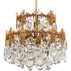 Impressive Gilt Brass & Crystal Glass Fixture by Palwa 1960s Pendant Chandelier