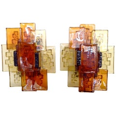 Pair of Holm Sorensen Brutalist, Glass Wall Sconces