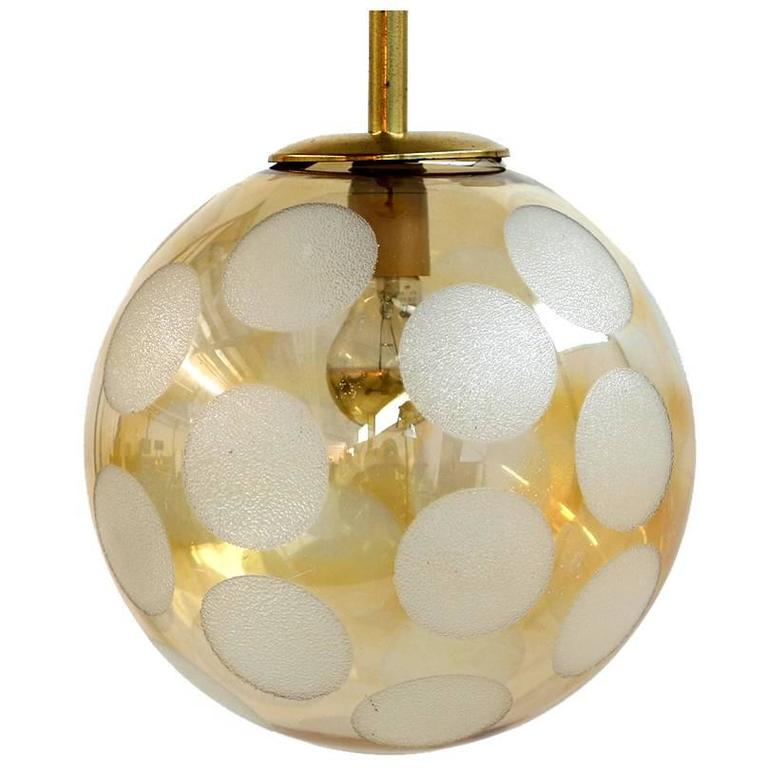 Fantastic 1970s Brass and Glass Globe Pendant Lamp For Sale