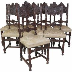 Eight 19th Century Carved Dining Chairs