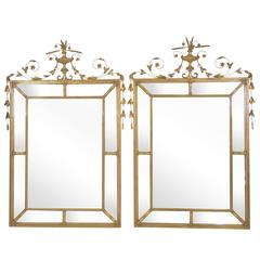 Pair of Neoclassical Style Gilt Beveled Glass Mirrors