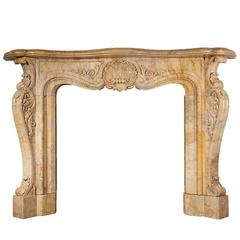 Antique Sienna Marble Fireplace in the Rococo Revival Style