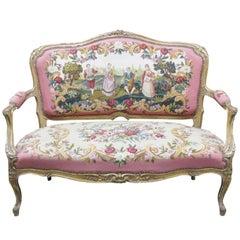 Louis XVI Style Gilt Painted Aubusson Sofa