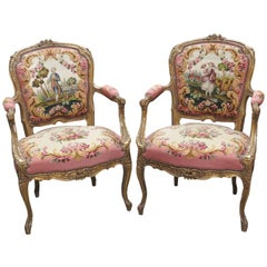 Pair of Louis XVI Style Gilt Painted Aubusson Fauteuils