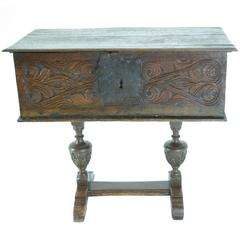 18th Century Oak Bible Box with Hinged Top, Lunette Sides on Later Stand