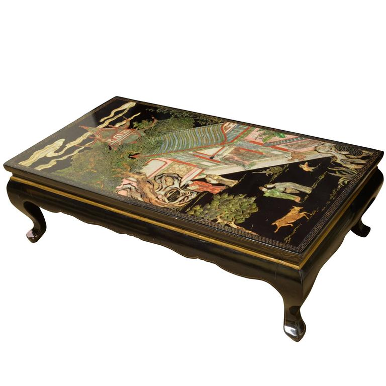 Oriental Black Lacquer Coffee Table At 1stdibs