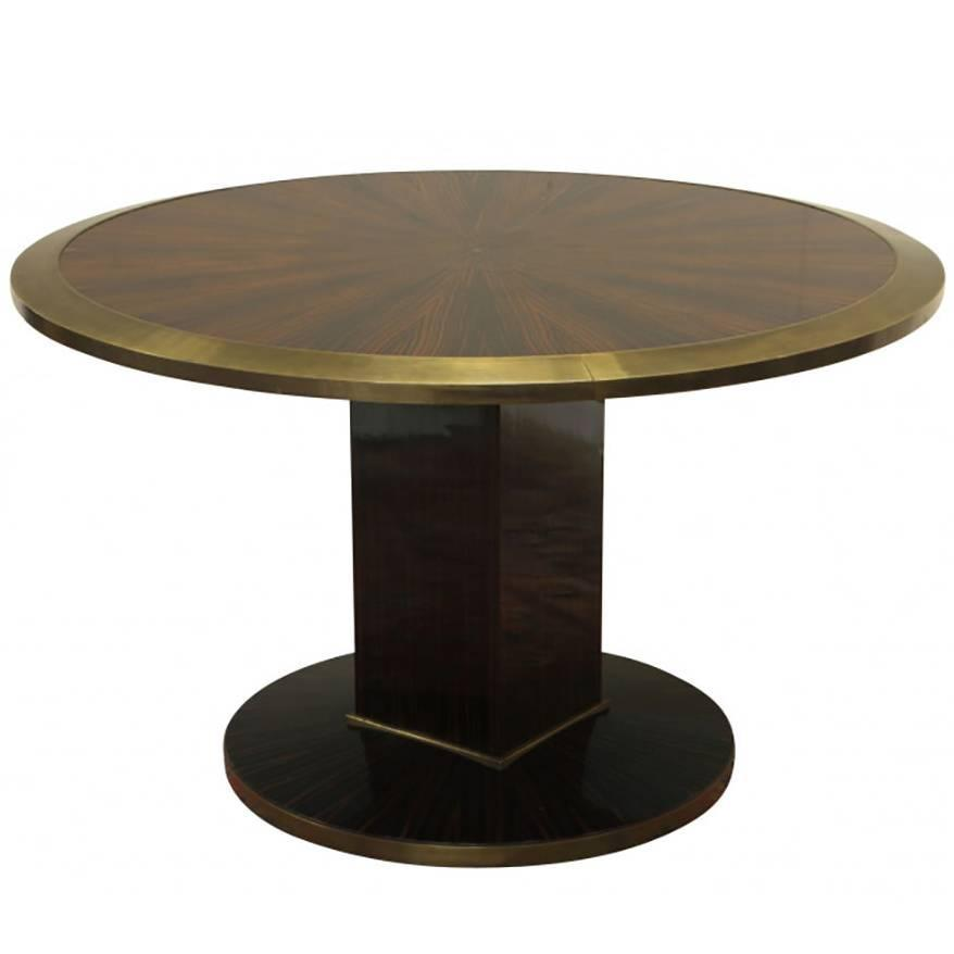 Custom round rosewood moderne club height cocktail table for Height of cocktail tables