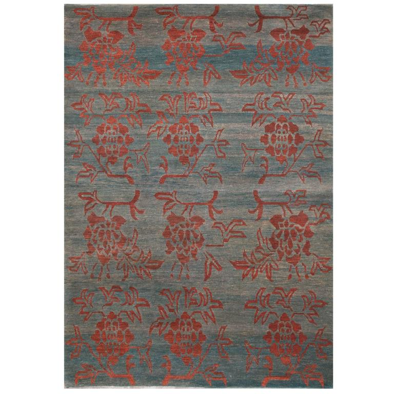 Tibetan Wool Area Rug With Natural Dyes And Abrash 4X6