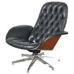 Rare George Mulhauser Leather Chair with Chrome Star Base for Plycraft