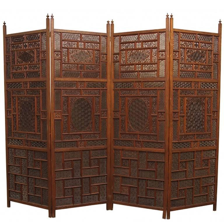 Unusual and Fine Moroccan Antique Four Panel Screen at 1stdibs