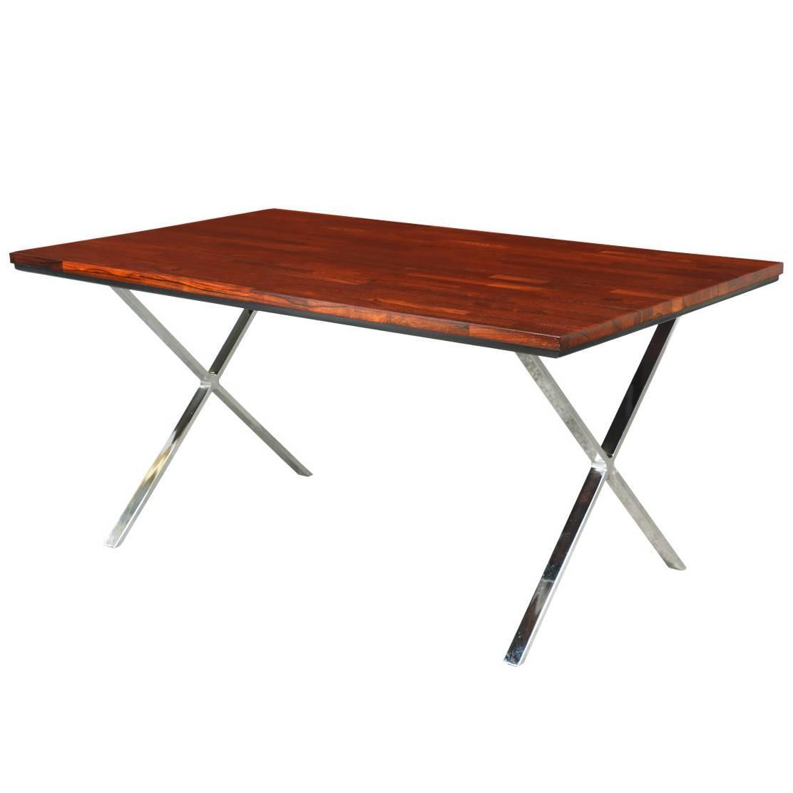 mid century rosewood dining table with x chrome base at 1stdibs. Black Bedroom Furniture Sets. Home Design Ideas