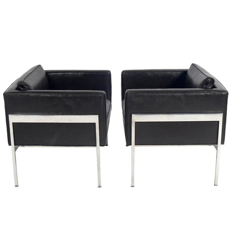 Pair Of Chrome And Leather Cube Chairs Attributed To Harvey Probber For Sale