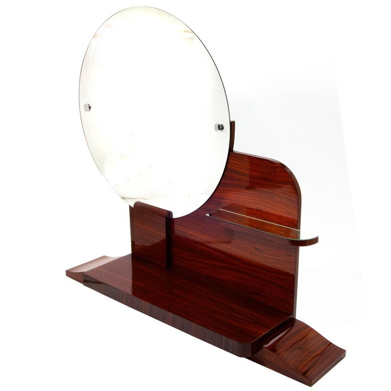 Round Art Deco Mirror with Shelves For Sale