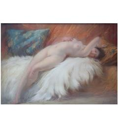 Naked Young Beauty on Lambskin, French Art Deco, Pastel, 1925