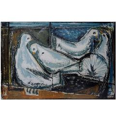Unknown Artist, Dated 1956, Picasso Style Four White Doves, Oil on Board