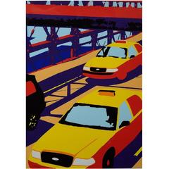 "Unknown Pop Art Artist, circa 1980s, ""Yellow Cabs, NY"" Chromolithograph"