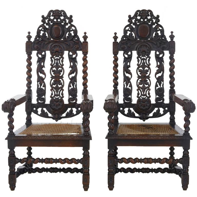 Paar aus Eichenholz geschnitzte barocke Thron-Stühle, 19. Jahrhundert 1