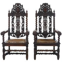 Pair of 19th Century Carved Oak Baroque Throne Armchairs