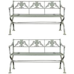 Pair of Early 20th Century Cast Iron Regency Style Garden Benches