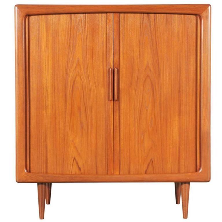 Teak Kitchen Cabinet Doors: Danish Modern Teak Tambour Door Cabinet By Dyrlund For