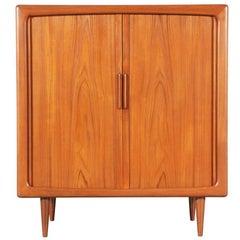 Danish Modern Teak Tambour Door Cabinet by Dyrlund