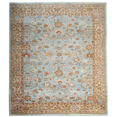 Oriental Rugs, Sky Blue Rugs Hand Made Carpet, Living Room Rugs for Sale