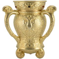 19th Century Russian Imperial Gem-Set Gilded Silver Trophy Cup by Ovchinnikov