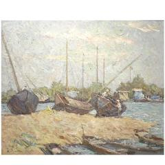 'Boatworks - 1959' Original Oil by Soviet Painter Alexander Lopatkin