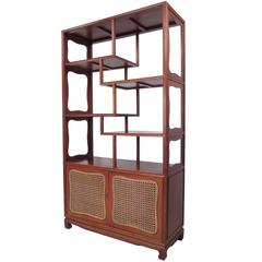 Vintage Modern Asian Influenced Etagere Display Shelf