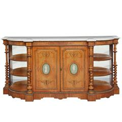 Exhibition Quality 19th Century Satinwood Marble-Top Credenza