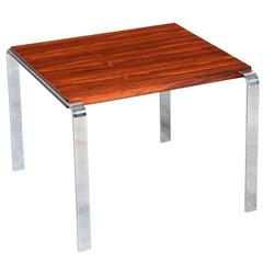 Mid-Century Rosewood and Chrome Steel Occasional Side Table
