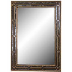 20th Century Spanish Gilt and Oxidized Rectangular Mirror