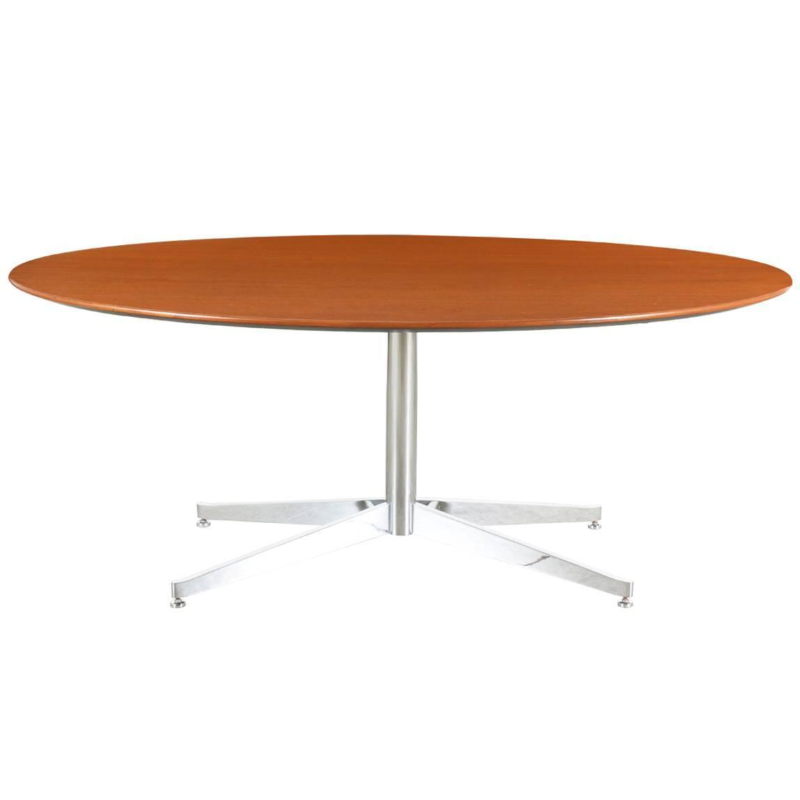 florence knoll oval walnut dining table with chrome base at 1stdibs. Black Bedroom Furniture Sets. Home Design Ideas