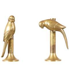 Frederick Cooper Brass Parrot Candleholders