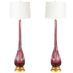 Vintage Itlalian Purple Murano Glass Table Lamps