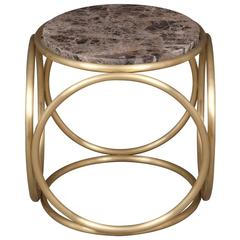 French Modern Marble and Brass Ring Round Side Table or Stool