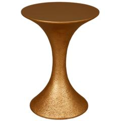 Large French Modern Gilded Hammered Resin Round Side or End Table
