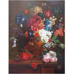 Flower Painter Early 20th Century Flower Still Life, Large Painting