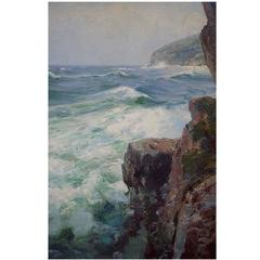 "Peder Knudsen ""Coastal Scene from Bornholm,"" 1920s, Oil on Canvas"