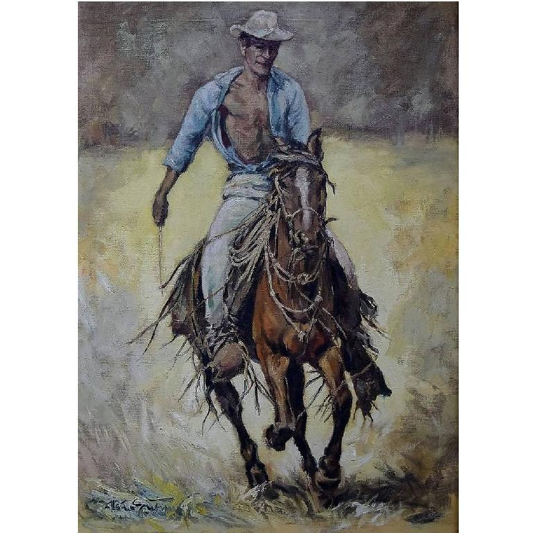 Oil Painting on Canvas, Cowboy, 20th Century