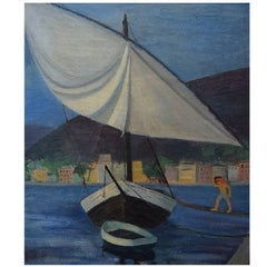 Unknown Artist, 1930s-1940s, Sailboat at the Quay in Marseille, Oil on Canvas