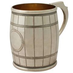 1870s Sterling Silver 'Barrel' Christening Mug by George Adams
