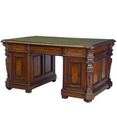19th Century Carved Oak Partners Desk Writing Table