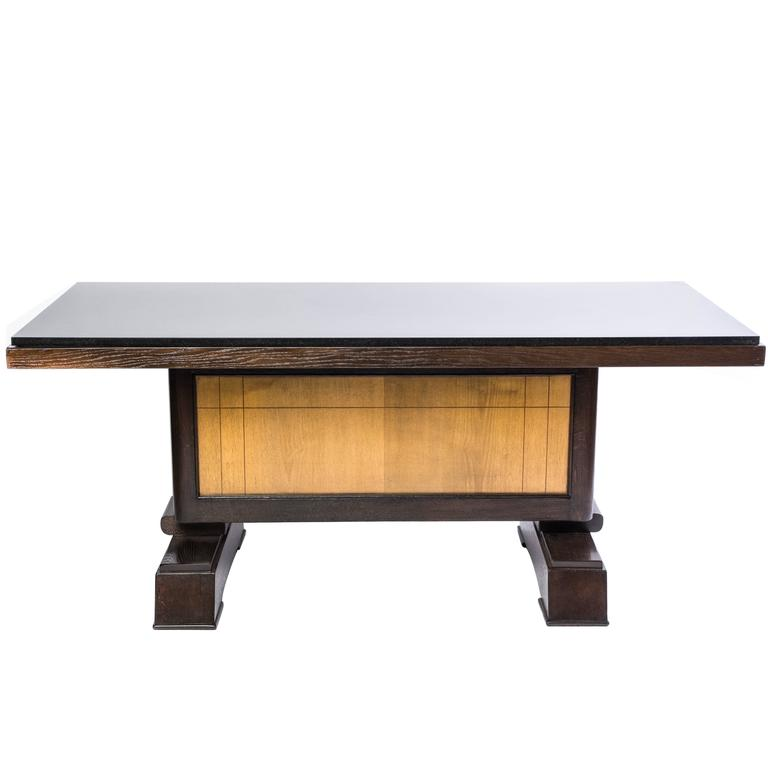 Unique art deco dining table in tiger oak by alfred for Unusual oak dining tables