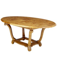 Rare Art Deco Birch and Alder Root Oval Center Table