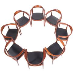 "Set of Eight Hans Wegner Classic ""Round"" Chairs for JH"
