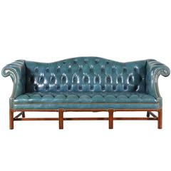 Vintage English Leather Teal Blue Chesterfield Sofa