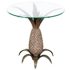 Vintage Bronze Pineapple Side Table with Glass Top