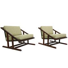 Pair of Mid-Century Angular Solid Walnut Sling Chairs